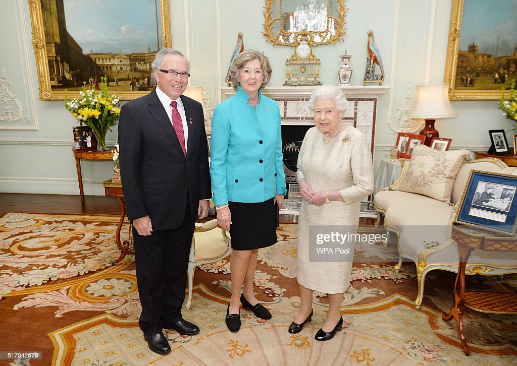 Queen Elizabeth II meets Lieutenant Governor of Manitoba in Canada Janice Filmon and her husband Gary Filmon at an audience at Buckingham Palace on March 23, 2016 in London, England.