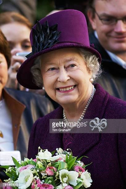 Queen Elizabeth II meets locals during a walkabout in the centre of Milton Keynes at 'thehubmk' a newly built mixeduse development with a central...