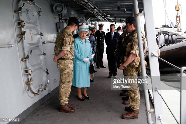 Queen Elizabeth II meets members of the Boarding Team who were involved in successful counternarcotics operations with HMS Lancaster during a royal...