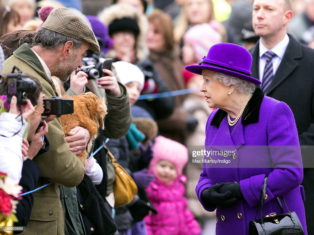 Queen Elizabeth II meets members of the public during a walkabout after attending Sunday service at the church of St Peter and St Paul in West Newton on February 03, 2013 near King's Lynn, England.