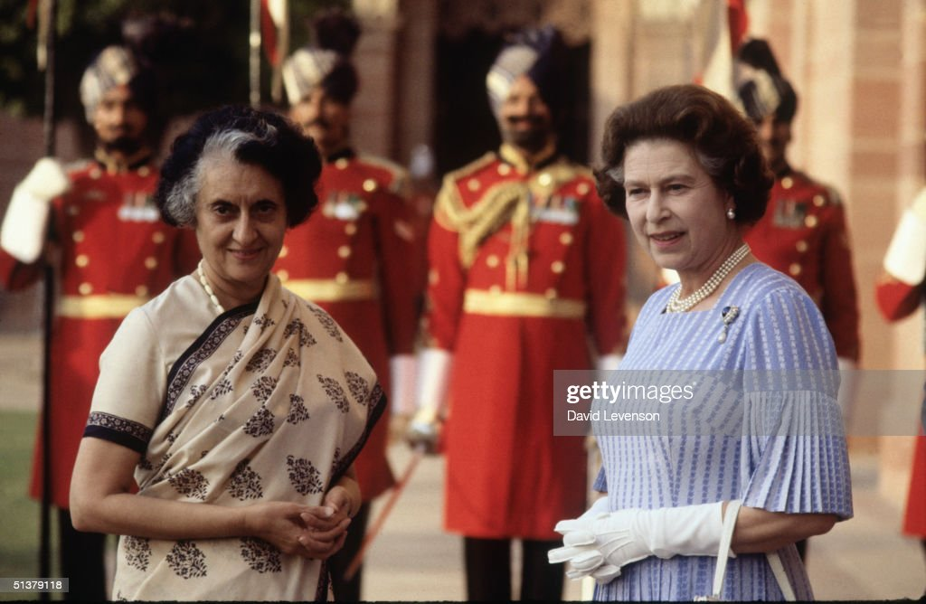 Queen Elizabeth II meets Mrs Indira Gandhi at Hyderabad House in Delhi India on November 18 1983 The Queen was on a 'Royal Tour' of India with Prince...