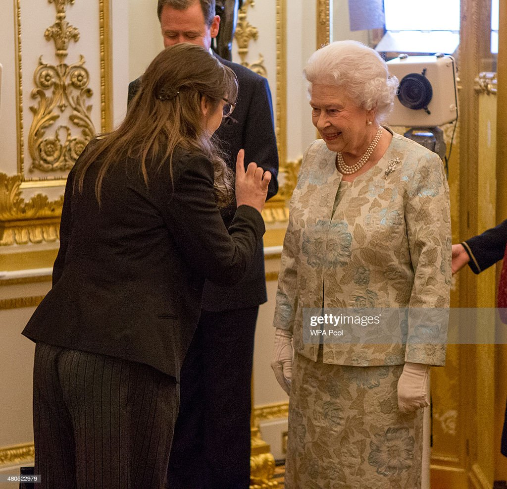 Queen <a gi-track='captionPersonalityLinkClicked' href=/galleries/search?phrase=Elizabeth+II&family=editorial&specificpeople=67226 ng-click='$event.stopPropagation()'>Elizabeth II</a> meets Pauline McLynn at the Irish Community Reception at Buckingham Palace on March, 25, 2014. The reception is in a advance of Ireland's President Michael D Higgins who will be the first Irish President to pay a state visit to Britain in April.