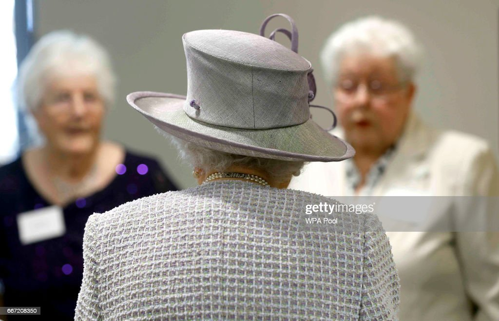Queen Elizabeth II meets residents during a visit to Priory View, an independent living scheme for older residents, in Dunstable on April 11, 2017 in Dunstable, United Kingdom.