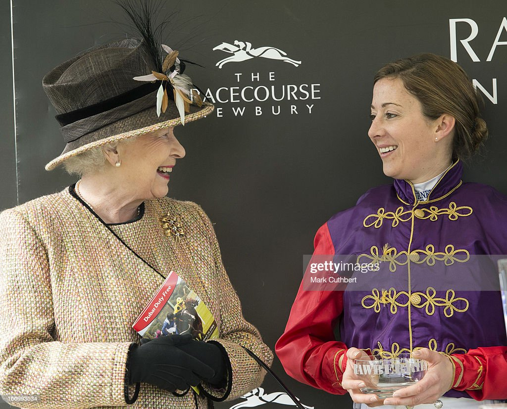 Queen <a gi-track='captionPersonalityLinkClicked' href=/galleries/search?phrase=Elizabeth+II&family=editorial&specificpeople=67226 ng-click='$event.stopPropagation()'>Elizabeth II</a> meets rider <a gi-track='captionPersonalityLinkClicked' href=/galleries/search?phrase=Hayley+Turner&family=editorial&specificpeople=253629 ng-click='$event.stopPropagation()'>Hayley Turner</a> who rode her horse 'Sign Manual' in the 'The Dreweatts Handicap Stakes' race to victory as she attends The Dubai Duty Free Raceday at Newbury Racecourse on April 19, 2013 in Newbury, England.