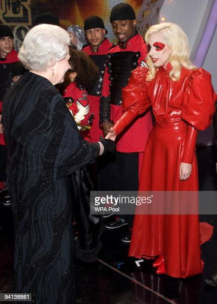 Queen Elizabeth II meets singer Lady Gaga following the Royal Variety Performance on December 7 2009 in Blackpool England