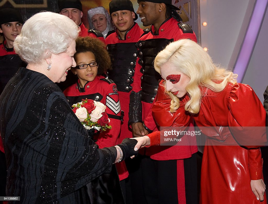 Queen <a gi-track='captionPersonalityLinkClicked' href=/galleries/search?phrase=Elizabeth+II&family=editorial&specificpeople=67226 ng-click='$event.stopPropagation()'>Elizabeth II</a> meets singer <a gi-track='captionPersonalityLinkClicked' href=/galleries/search?phrase=Lady+Gaga&family=editorial&specificpeople=4456754 ng-click='$event.stopPropagation()'>Lady Gaga</a> following the Royal Variety Performance on December 7, 2009 in Blackpool, England