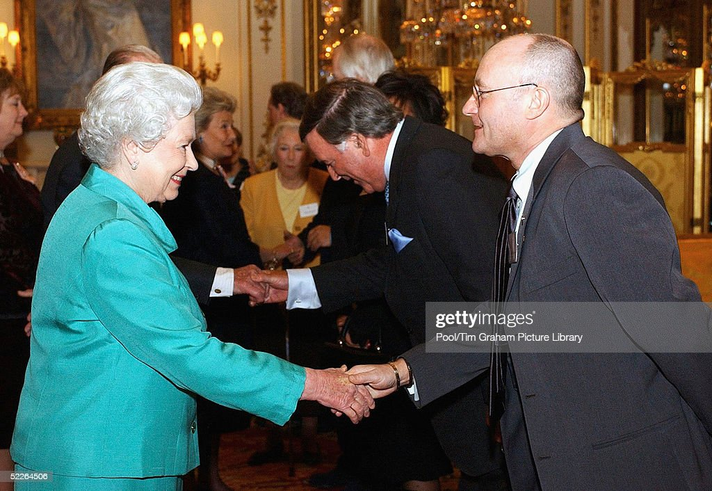 Queen <a gi-track='captionPersonalityLinkClicked' href=/galleries/search?phrase=Elizabeth+II&family=editorial&specificpeople=67226 ng-click='$event.stopPropagation()'>Elizabeth II</a> meets singer Phil Collins at the 'Music Day At The Palace' event at Buckingham Palace on March 1, 2005 in London, England. The Royal reception was held to recognise the excellence of British music and the contribution it makes to the culture and economy of the UK.