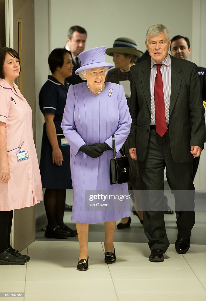 Queen Elizabeth II meets staff and patients during her tour to open the new Royal London Hospital building and the new National Centre for Bowel Research and Surgical Innovation on February 27, 2013 in London, England.