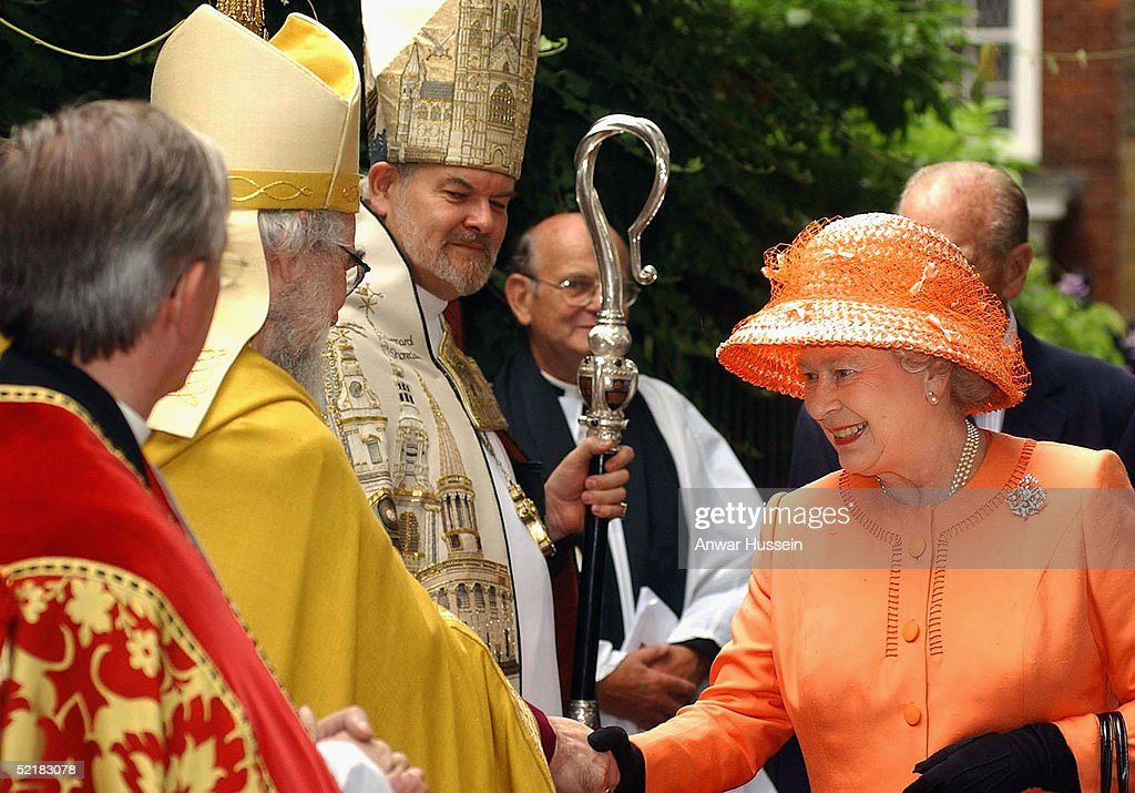 Queen Elizabeth II meets The Archbishop of Canterbury, Dr Rowan Williams on July 17, 2003 during her visit to St Bartholomews The Great in London, England. Dr Williams has accepted an invitation to preside at a service of prayer and dedication for the wedding of Prince Charles and Camilla Parker-Bowles.