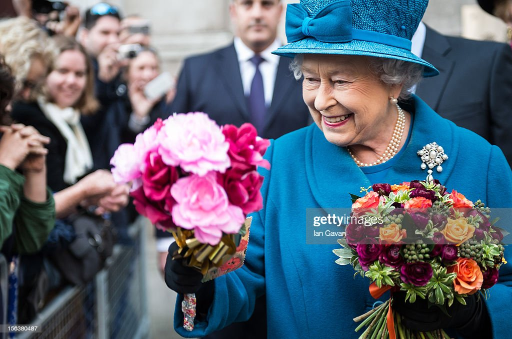 Queen Elizabeth II meets the crowd after her visit to the Royal Commonwealth Society on November 14, 2012 in London, England.