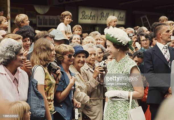 Queen Elizabeth II meets the crowds during her royal tour of New Zealand 1977