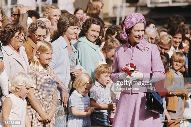 Queen Elizabeth II meets the crowds in Christchurch during her royal tour of New Zealand 1977