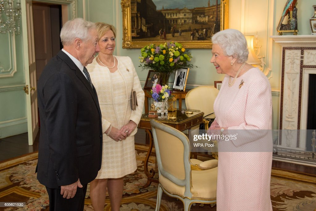 Queen Elizabeth II meets the new Lieutenant Governor of Quebec Michel Doyen, and Pauline Theberge at an audience at Buckingham Palace on February 16, 2017 in London, England.