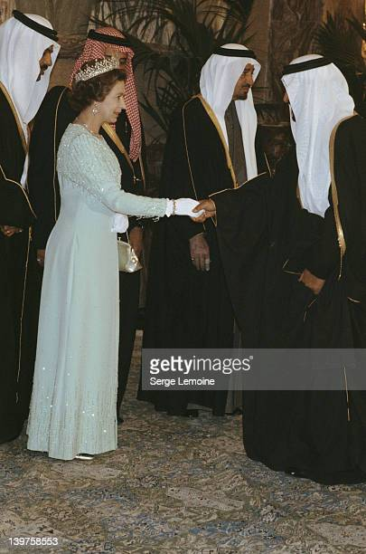 Queen Elizabeth II meets the Saudi royal family in Riyadh during her state visit to Saudi Arabia 19th February 1979