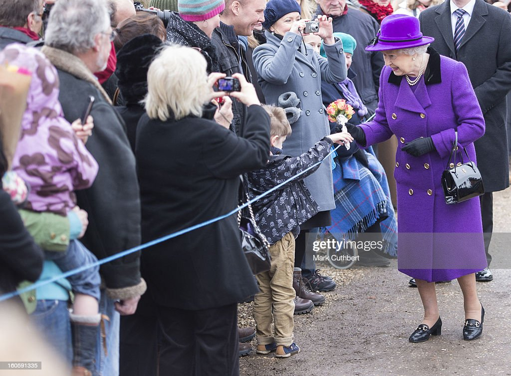 Queen Elizabeth II meets well wishers after attending a service at the Church Of St Peter And St Paul in West Newton near Sandringhamon February 3, 2013 near King's Lynn, England.