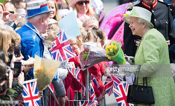 Queen Elizabeth II meets well wishers on a walk about around Windsor on her 90th Birthday on April 21 2016 in Windsor England