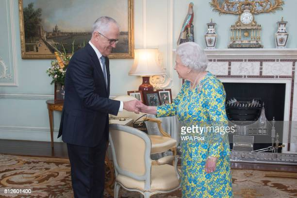 Queen Elizabeth II meets with the Prime Minister of Australia Malcolm Turnbull during an audience at Buckingham Palace on July 11 2017 in London...