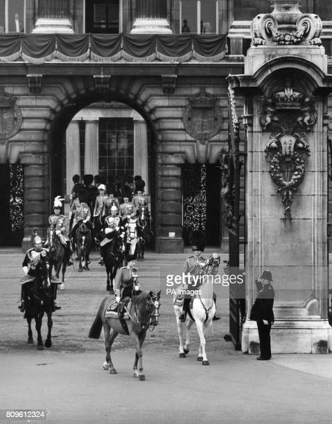 Queen Elizabeth II mounted on police horse Winston attending the first Trooping the Colour Ceremony of her reign The Queen leaves Buckingham Palace...