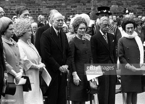 Queen Elizabeth II of England attends a public ceremony at Marlborough House London at which she unveils a plaque commemorating the centenary of the...