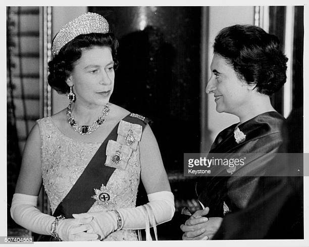 Queen Elizabeth II of Great Britain and Indian Prime Minister Indira Gandhi in discussion 1969