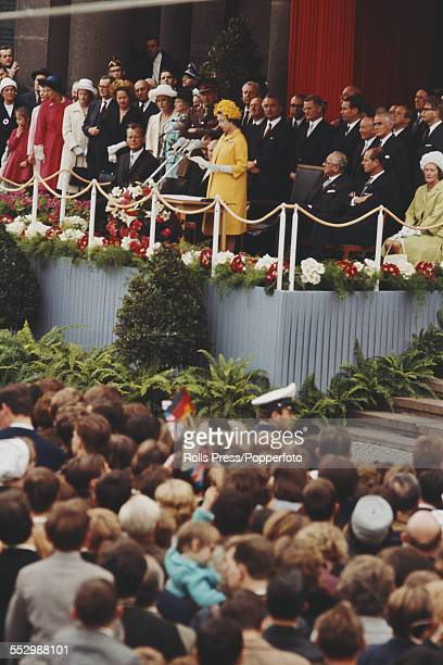 Queen Elizabeth II of Great Britain makes a speech on the balcony at City Hall in West Berlin during a state visit to West Germany on 27th May 1965...