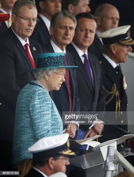 Queen Elizabeth II officially names Royal Navy's new aircraft carrier HMS Queen Elizabeth with Defence Secretary Philip Hammond and Prime Minister...