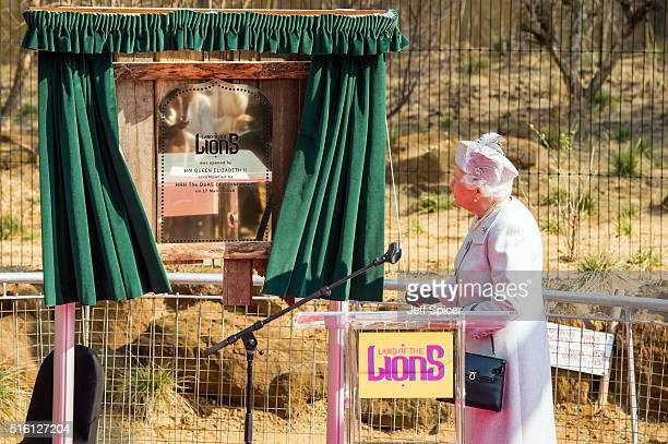 Queen Elizabeth II officially opens the Land of the Lions exhibit at London Zoo on March 17 2016 in London England