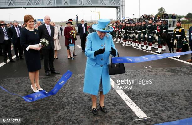 Queen Elizabeth II officially opens the Queensferry Crossing as Prince Philip Duke of Edinburgh and First Minister Nicola Sturgeon look on during the...