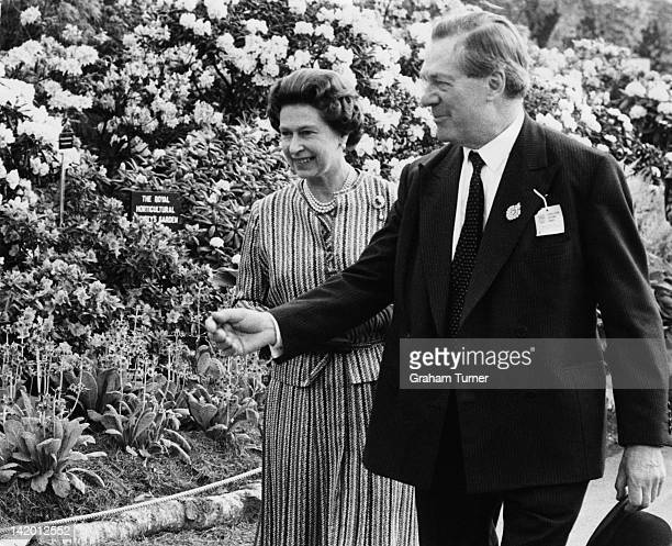 Queen Elizabeth II on a tour of the Chelsea Flower Show London 19th May 1980