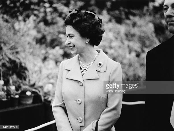 Queen Elizabeth II on a tour of the Chelsea Flower Show London 22nd May 1973