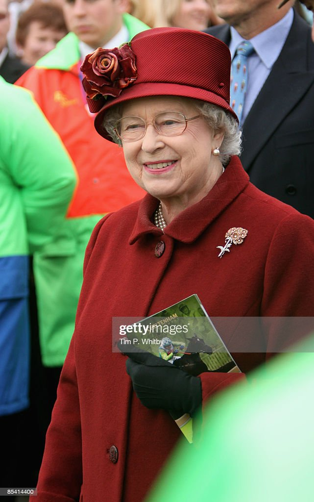 Queen Elizabeth II on Day Four of the Cheltenham Festival at the Cheltenham racecourse on March 13, 2009 in Cheltenham, England.