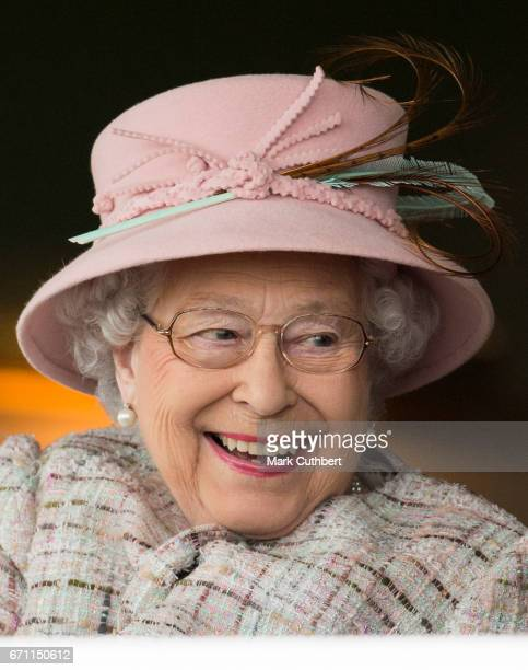 Queen Elizabeth II on her 91st birthday attending the Dubai duty free spring trials meeting at Newbury Racecourse on April 21 2017 in Newbury United...