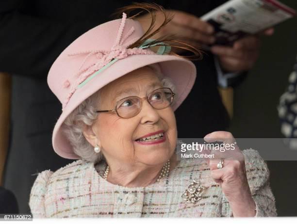Queen Elizabeth II on her 91st birthday attending the Dubai duty free spring trials meeting at Newbury Racecourse on April 21 2017 in Newbury United...