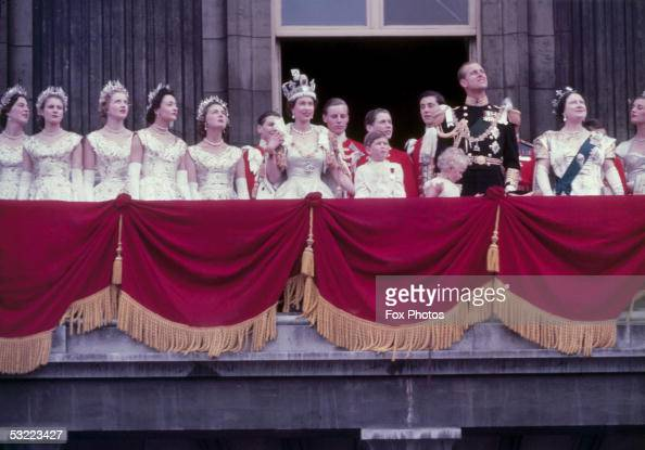 Queen Elizabeth II on the balcony at Buckingham Palace after her coronation 2nd June 1953 With her are Prince Charles Princess Anne Prince Philip...