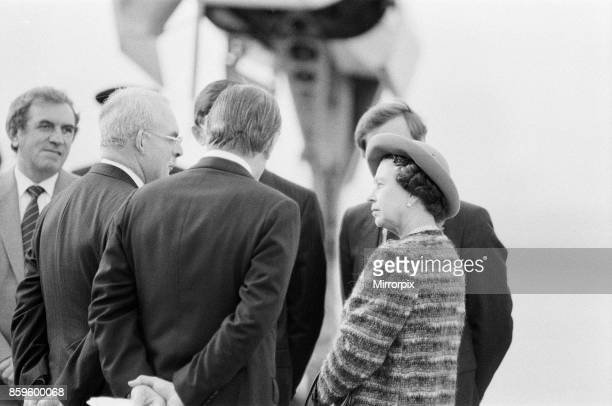 Queen Elizabeth II opens London City Airport to the East of London Here the Queen talks to airport staff and officials about the opening of The...