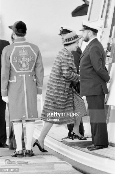 Queen Elizabeth II opens London City Airport to the East of London The Queen is seen here after her visit stepping onto the Royal River Barge London...