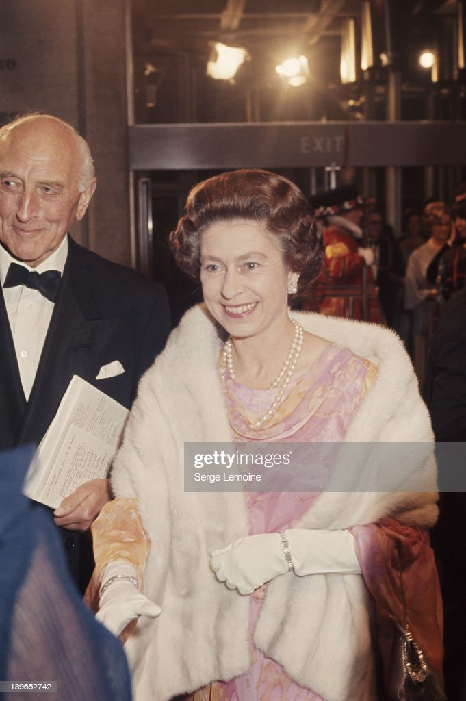 Queen Elizabeth II opens the National Theatre on the South Bank in London, 25th October 1976.