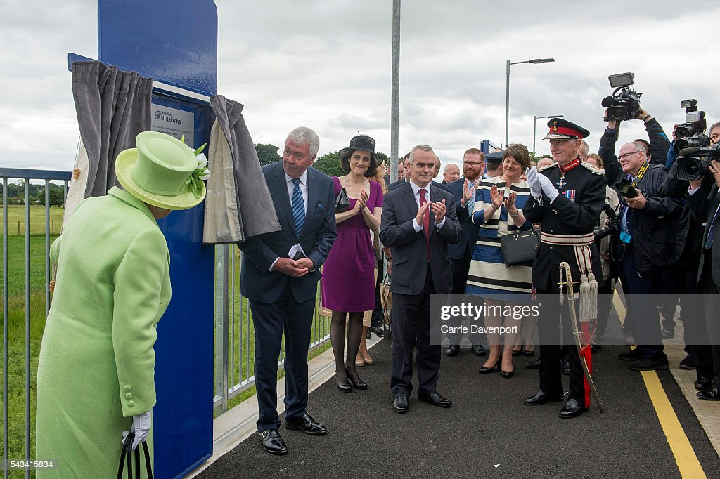 Queen Elizabeth II opens the new Bellarena Station village on June 28, 2016 in Bellarena, Northern Ireland.