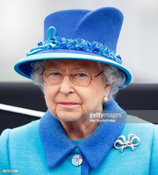 Queen Elizabeth II opens the new Scottish Border's Railway as she visits Tweedbank Station on September 9 2015 in Tweedbank Scotland Today Her...