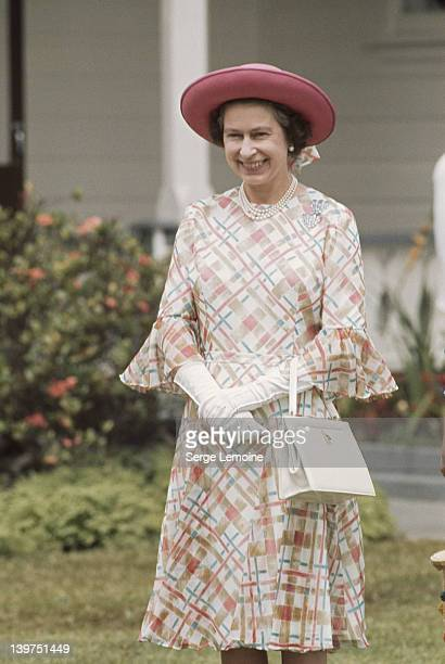 Queen Elizabeth II outside the palace of King Taufa'ahau Tupou IV of Tonga during her visit to Tonga February 1977