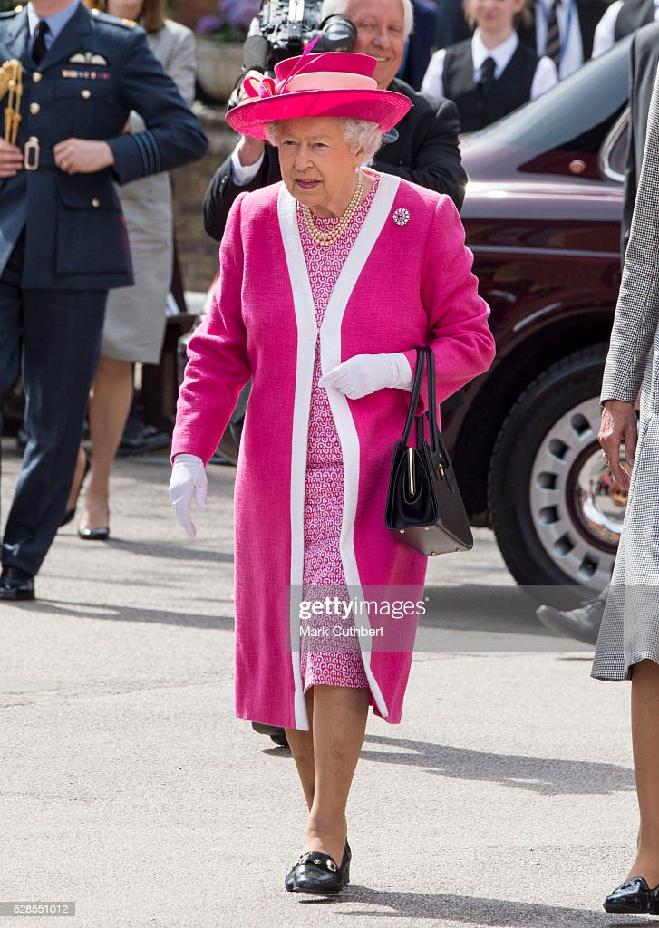 Queen <a gi-track='captionPersonalityLinkClicked' href=/galleries/search?phrase=Elizabeth+II&family=editorial&specificpeople=67226 ng-click='$event.stopPropagation()'>Elizabeth II</a>, Patron, Berkhamsted School, inspects a Guard of Honour formed from the school's Combined Cadet Force, as part of the school's 475th Anniversary celebrations, at Berkhamsted School on May 6, 2016 in Berkhamsted, England.