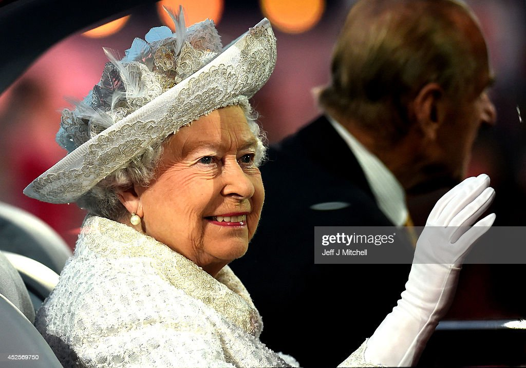 Queen Elizabeth II, Patron of the CGF arrives during the Opening Ceremony for the Glasgow 2014 Commonwealth Games at Celtic Park on July 23, 2014 in Glasgow, Scotland.