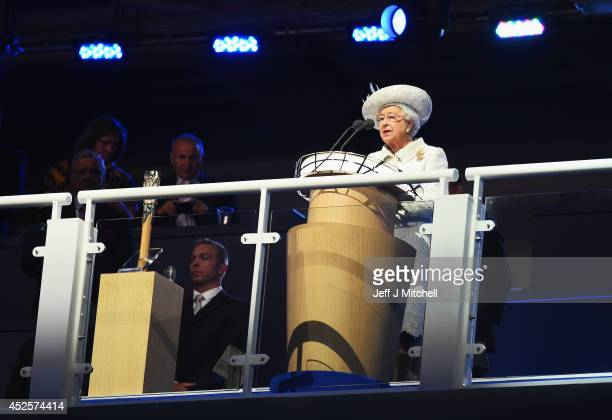 Queen Elizabeth II Patron of the CGF speaks during the Opening Ceremony for the Glasgow 2014 Commonwealth Games at Celtic Park on July 23 2014 in...