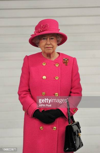 Queen Elizabeth II pictured during a visit to the Bailey caravan factory as part of her Jubilee tour on November 22 2012 in Bristol England