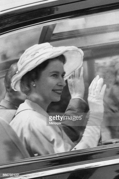 Queen Elizabeth II pictured during two day visit to the welsh capital Cardiff Wales Friday 5th August 1960 Out Picture Shows The Queen waves to well...