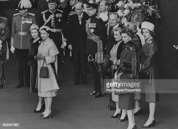 Queen Elizabeth II pictured second left with Princess Margaret along with the Princess Alice Duchess of Gloucester Princess Marina Duchess of Kent...