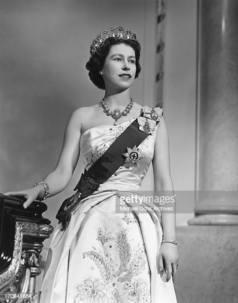 Queen Elizabeth II poses for a portrait at home in Buckingham Palace in December 1958 in London England