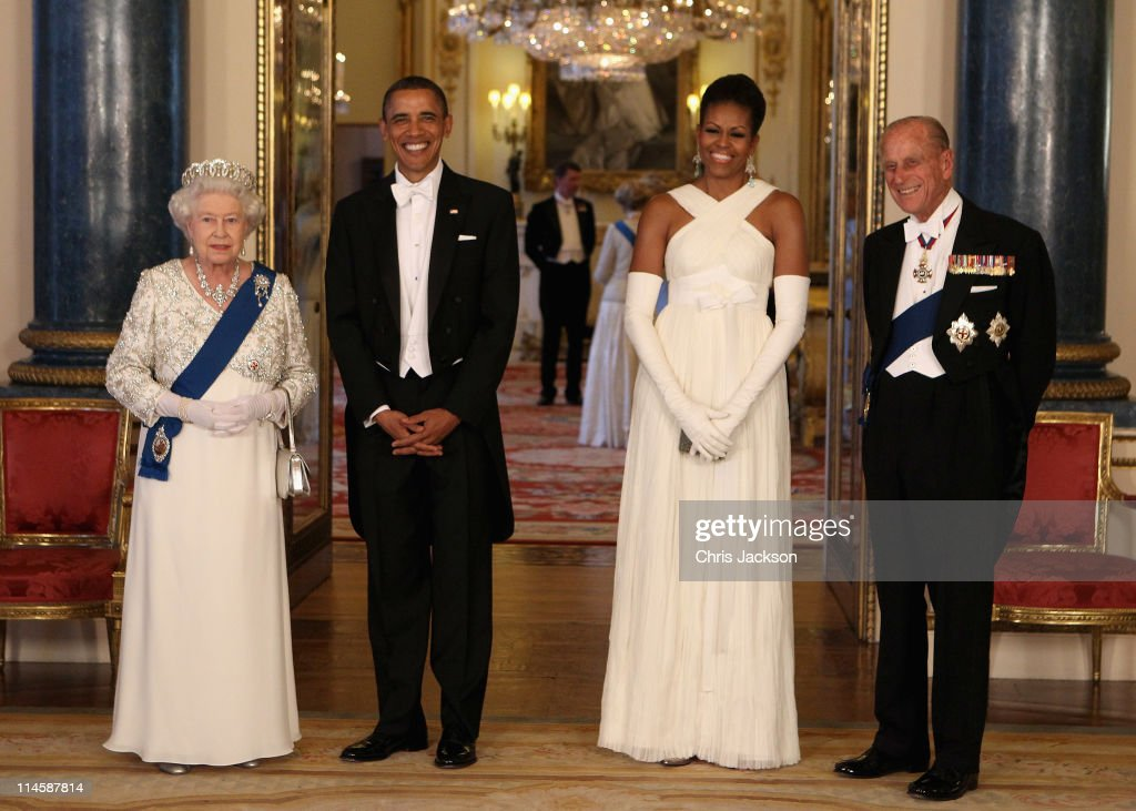 Queen <a gi-track='captionPersonalityLinkClicked' href=/galleries/search?phrase=Elizabeth+II&family=editorial&specificpeople=67226 ng-click='$event.stopPropagation()'>Elizabeth II</a> poses with U.S. President <a gi-track='captionPersonalityLinkClicked' href=/galleries/search?phrase=Barack+Obama&family=editorial&specificpeople=203260 ng-click='$event.stopPropagation()'>Barack Obama</a>, his wife <a gi-track='captionPersonalityLinkClicked' href=/galleries/search?phrase=Michelle+Obama&family=editorial&specificpeople=2528864 ng-click='$event.stopPropagation()'>Michelle Obama</a> and <a gi-track='captionPersonalityLinkClicked' href=/galleries/search?phrase=Prince+Philip&family=editorial&specificpeople=92394 ng-click='$event.stopPropagation()'>Prince Philip</a>, Duke of Edinburgh in the Music Room of Buckingham Palace ahead of a State Banquet on May 24, 2011 in London, England. The 44th President of the United States, <a gi-track='captionPersonalityLinkClicked' href=/galleries/search?phrase=Barack+Obama&family=editorial&specificpeople=203260 ng-click='$event.stopPropagation()'>Barack Obama</a>, and his wife Michelle are in the UK for a two day State Visit at the invitation of HM Queen <a gi-track='captionPersonalityLinkClicked' href=/galleries/search?phrase=Elizabeth+II&family=editorial&specificpeople=67226 ng-click='$event.stopPropagation()'>Elizabeth II</a>. During the trip they will attend a state banquet at Buckingham Palace and the President will address both houses of parliament at Westminster Hall.