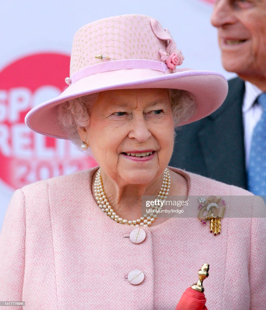 Queen Elizabeth II prepares to start the 'Sport Relief Mile' at MediaCityUK during a visit to Manchester as part of her Diamond Jubilee Tour of the UK on March 23, 2012 in Manchester, England.