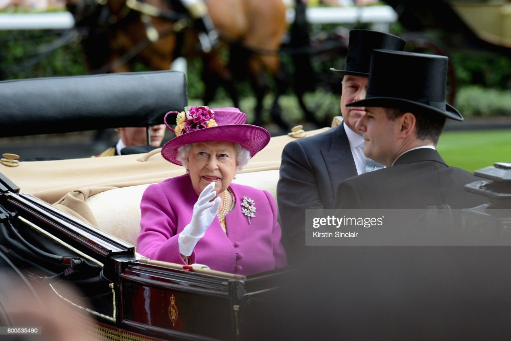 Queen Elizabeth II, Prince Andrew, Duke of York, Mr Stephen Knott and Mr John Warren arrive in the Royal Procession on day 5 of Royal Ascot 2017 at Ascot Racecourse on June 24, 2017 in Ascot, England.